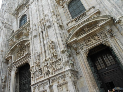 Another view looking up at the cathedral's exterior. Statues and other elaborate carving on the front façade.