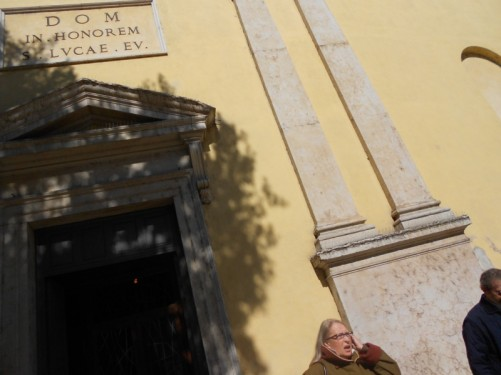 Outside the church of San Luca.