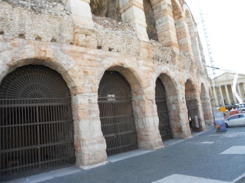 Outside the Arena at Piazza Bra. This large and spectacular Roman amphitheatre was built in AD 30.