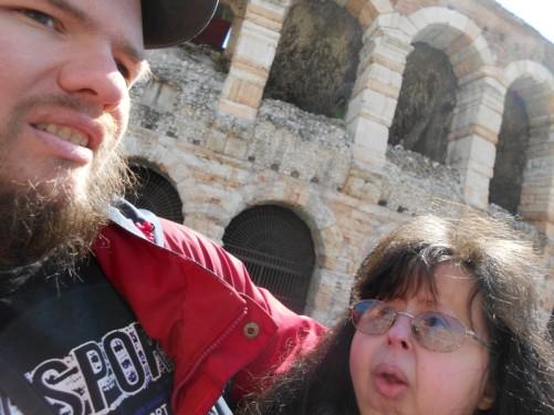 Tony and Tatiana outside the Arena.