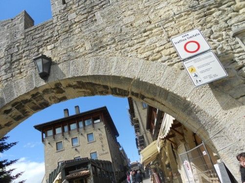 Looking through Porta della Fratta (Fratta Gate) into the walled centre of San Marino's capital.