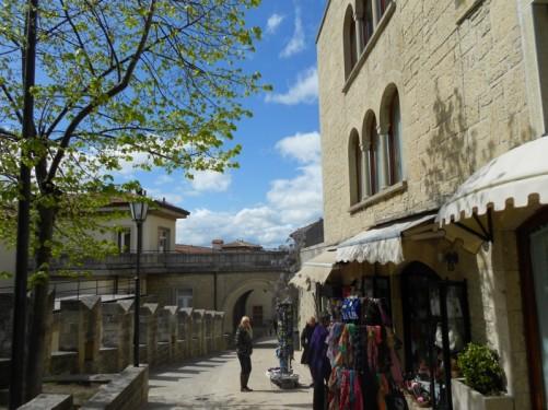 A street in San Marino. Souvenir shops.