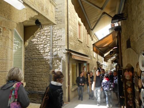 Busy narrow street.