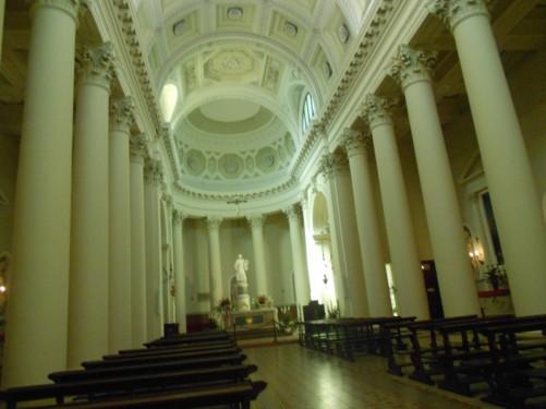 View along the aisle inside the Basilica di San Marino (Basilica of Saint Marino).