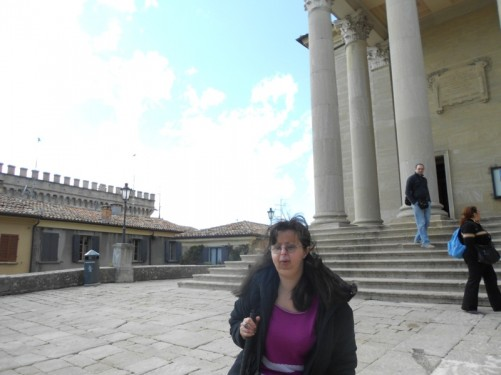 Tatiana outside the basilica.