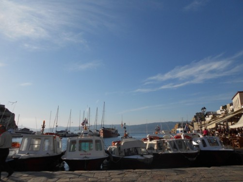Boats in Hydra's harbour.
