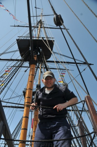 Tony on the ship: View of its masts and rigging.