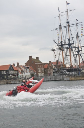 A good view of HMS Trincomalee with the Thundercat circling around in front.