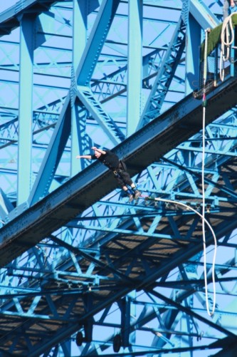 Tony on his way down, the Transporter Bridge above.