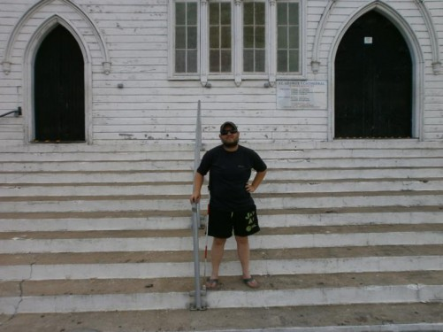 Tony standing on the steps of the cathedral.
