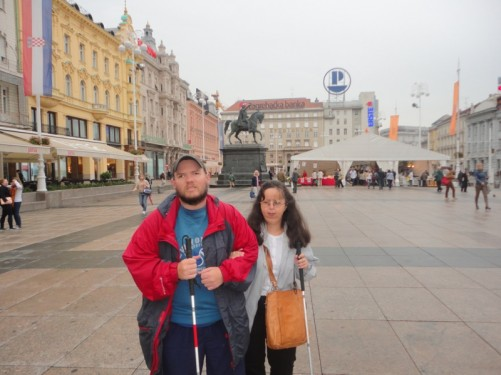 Tony and Tatiana in Ban Jelacic Square. This is the central square of Zagreb, located in the downtown pedestrian zone.