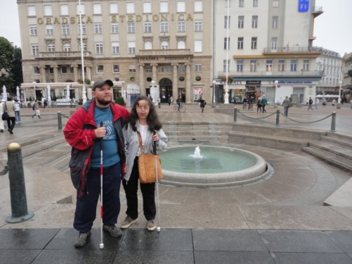 Tony and Tatiana by Nandusevac Fountain in the east part of Ban Jelacic Square (Trg Bana Jelacica).