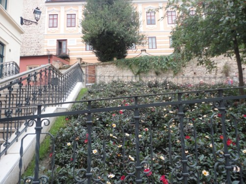Steps leading up to the historic Gradec district. Gradec is a quiet and leafy part of the city with narrow streets and small squares containing many historic and government buildings.