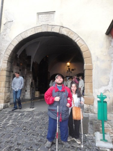 Tony and Tatiana at the Kamenita Vrata (or Stone Gate), which was originally the main east gate into the town. It dates from the 13th century.