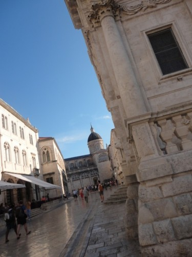 Looking along a street off Luža Square towards Dubrovnik's Cathedral at the far end.