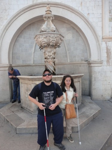 Tony and Tatiana in front of Onofrio's Little Fountain.
