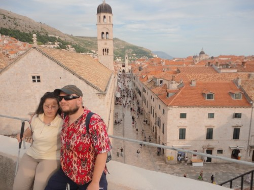Tony and Tatiana up on the city walls. View along the marble-paved Stradum below. The bell tower can be seen at the far end.