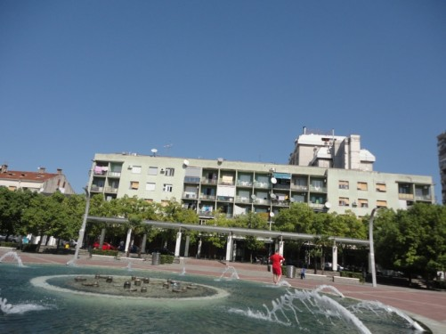 View across Republic Square in the centre of Podgorica. A fountain in the foreground.