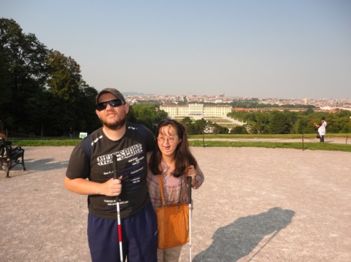 Tony, Tatiana on Schönbrunn Hill. View of the palace below and the city beyond.
