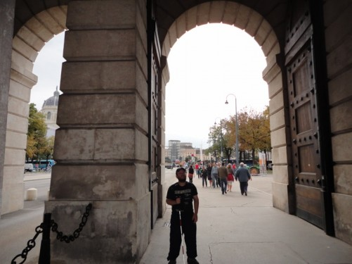 Tony standing inside the Burgtor (or Palace Gate). This is the outer gate of the Hofburg Palace.