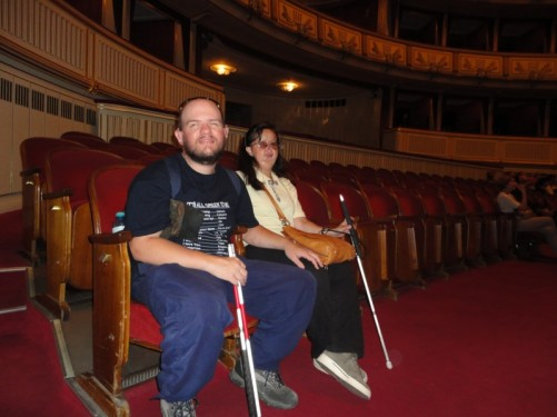 Tony and Tatiana at the Vienna State Opera. Sitting in the auditorium.