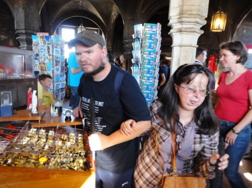 Tony and Tatiana in the cathedral's gift shop at the top of the south tower!
