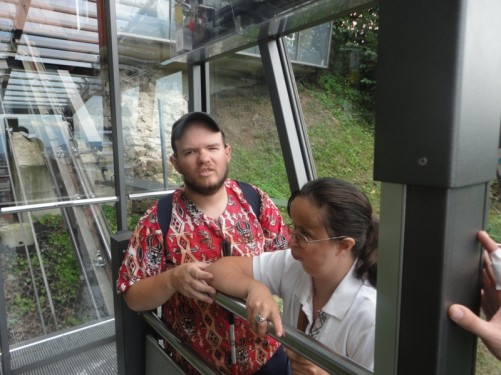 Tony and Tatiana going up the funicular railway to Ljubljana Castle.