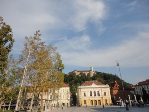 View of Ljubljana Castle from Congress Square.