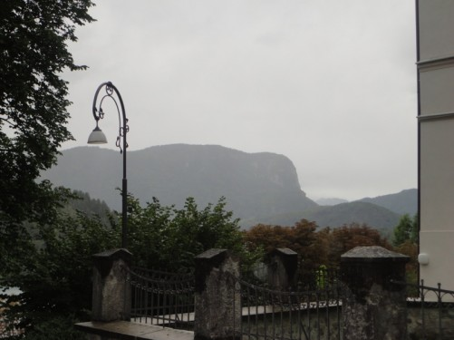 View of mountains in the distance from St Martin's Church.