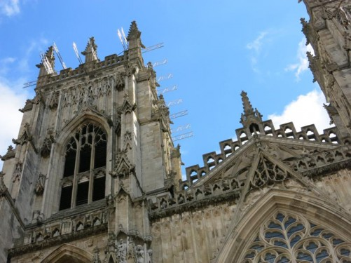 Looking up at the front façade of York Minster.