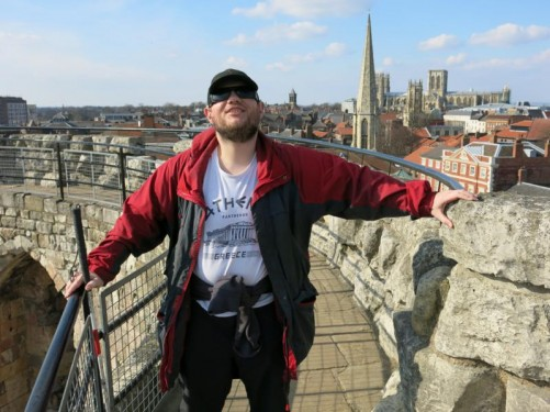Tony on top of Clifford's Tower. Excellent view of York's skyline including York Minster.