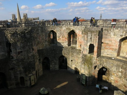 Looking down into the courtyard in the centre of Clifford's Tower.