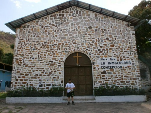 Outside the church of Our Lady of the Immaculate Conception in Canaima Village. Tony stayed in the village for the first night.
