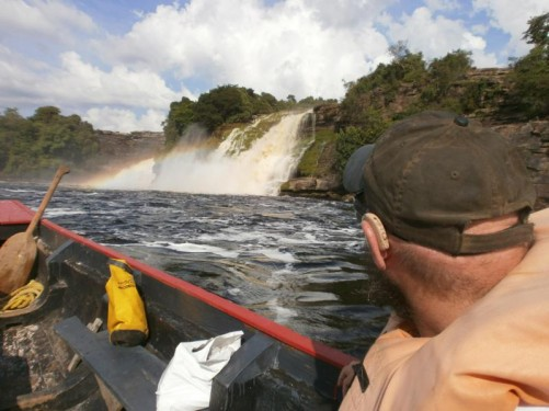 Nearing Salto Ucaima - spray in the air creating a faint rainbow.