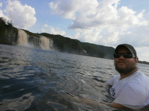Tony relaxing in the water. Another amazing view of Hacha waterfall behind.