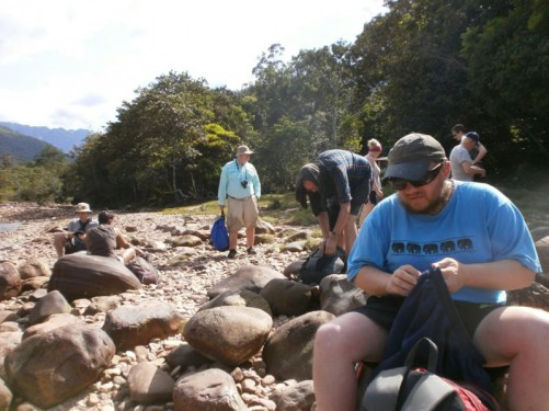 Tony with other members of his group on a rocky beach preparing for the trek to Angel Falls.
