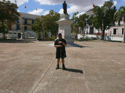Another view of Tony by the Simon Bolivar statue.