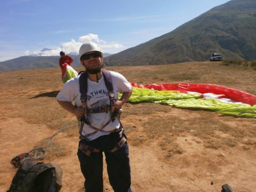 Kit being prepared for Tony's paraglide.