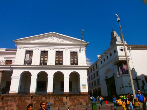 The corner of the Carondelet Palace seen from Independence Square. The Carondelet Palace (also known as the Palace of the Government) is the seat of the government of Ecuador and home to the president.