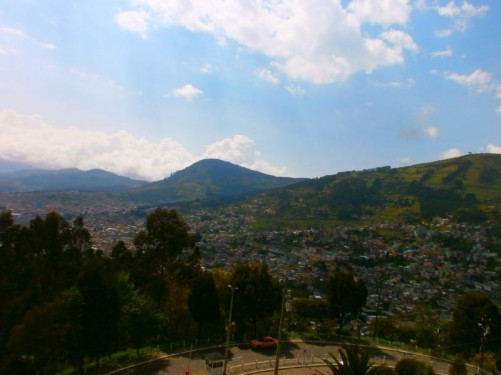 View of Quito's suburbs and the mountains beyond from the statue.
