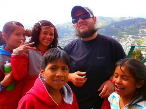 Tony with a group of local children on the statue's viewing platform.