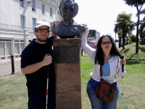Tony and Tatiana stood by the statue of Agatha Christie in Cary Gardens, Torquay.