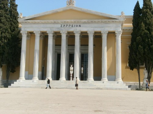The front façade of the Zappeion, which incorporates a row of tall Corinthian columns. The building was constructed between 1874 and 1888. It was used during the 1896 Summer Olympics as the main fencing hall. Today it is a conference and exhibition centre.