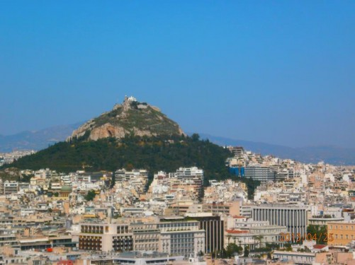 View from the Acropolis across the city to Likavetos Hill. At 277 metres Likavetos Hill is the highest point in Athens.