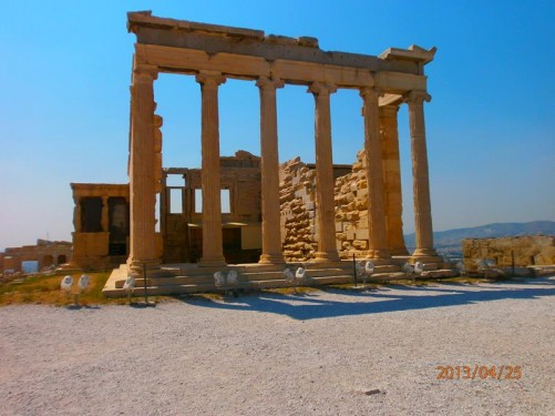 The Erechtheum, an ancient temple, on the north side of the Acropolis. The temple as seen today was built between 421 and 406 BC.