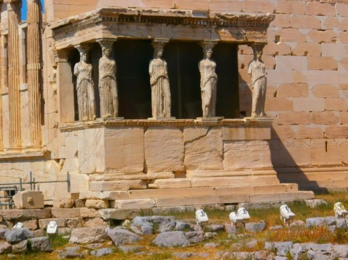 The Porch of the Caryatids. Located on the Erechtheum's south wall. The porch's six supporting columns are in the form of draped female figures (caryatids).