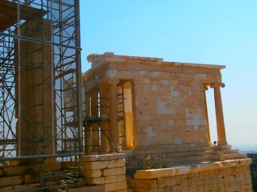 Temple of Athena Nike. This temple sits at a prominent position on a steep bastion at the south-west corner of the Acropolis. Built between 427 and 424 BC, the temple is the earliest fully Ionic temple on the Acropolis.