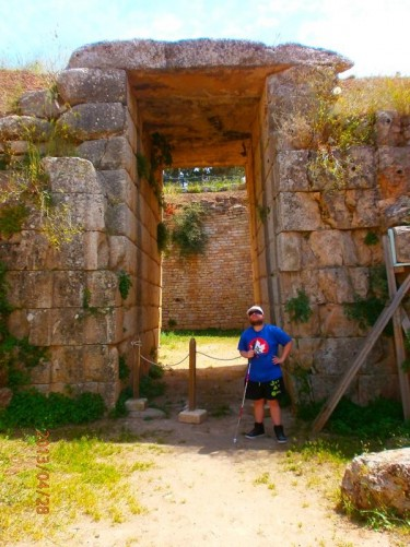 Tony at the doorway into the Tomb of Aegisthus, which is located outside the walls of the citadel. This is another tholos tomb, but less well preserved than the Tomb of Agamemnon. The ceiling is completely gone.
