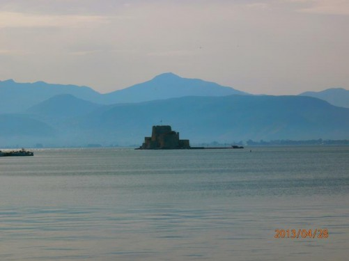 Bourtzi Fortress built on a rock out in the bay. Constructed by the Venetians in 1473.