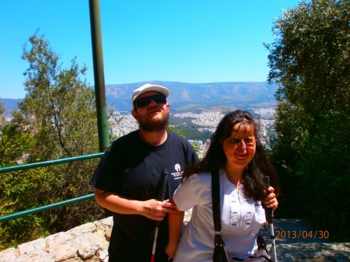 Tony and Tatiana on Lykavittos Hill, Athens' highest point.
